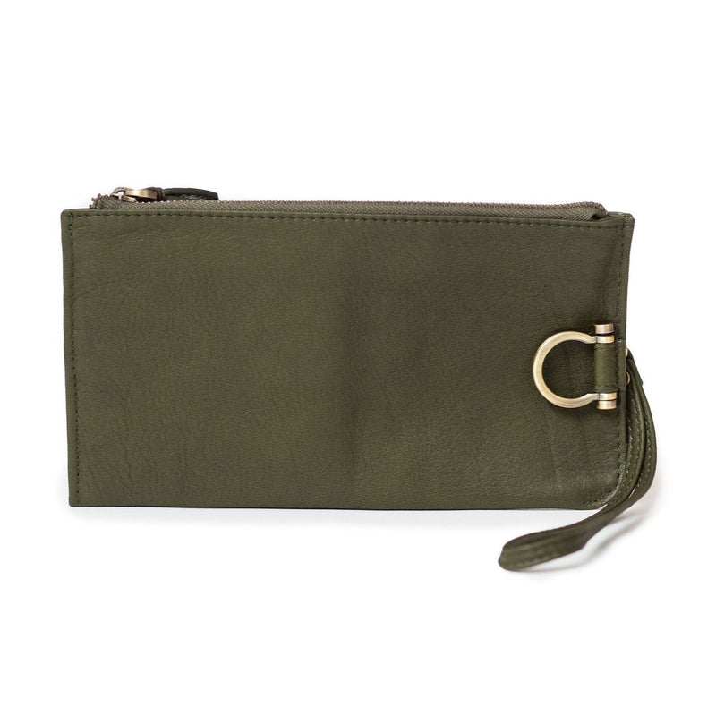 Forten wristlet in olive green raw leather features a minimal exterior with Omega brass hardware.