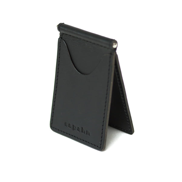 Black leather Dale money clip features exterior card slots and a subtle Sapahn logo.