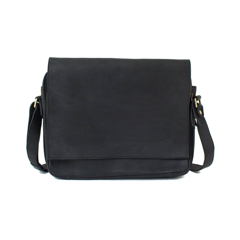 Ford messenger black raw leather unisex bag has a minimal, classic style.