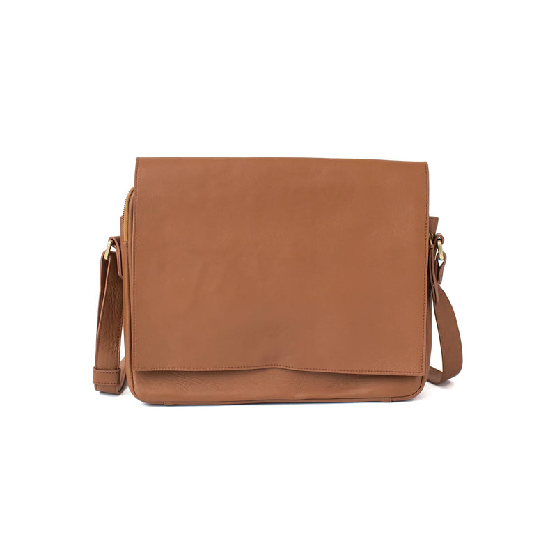 Ford messenger tan leather unisex bag in classic cognac brown oil Leather has a minimal style.