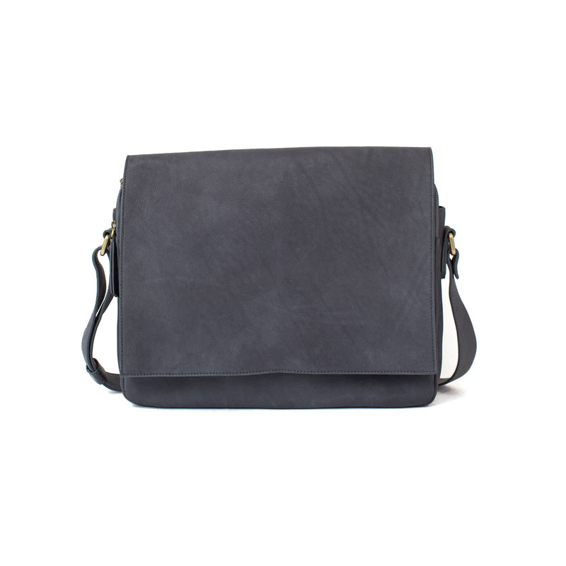 Ford messenger gray raw leather unisex bag in has a minimal, classic style.