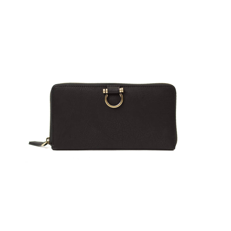 The Winnie Jo wallet in black raw leather is your favorite zip-around wallet style.