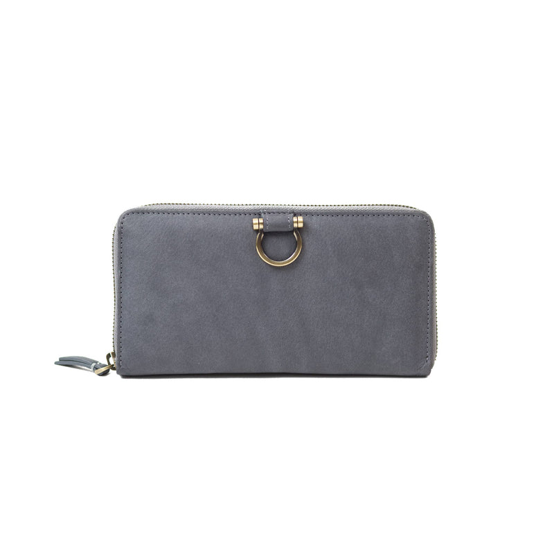 The Winnie Jo wallet in gray raw leather is your favorite zip-around wallet style.