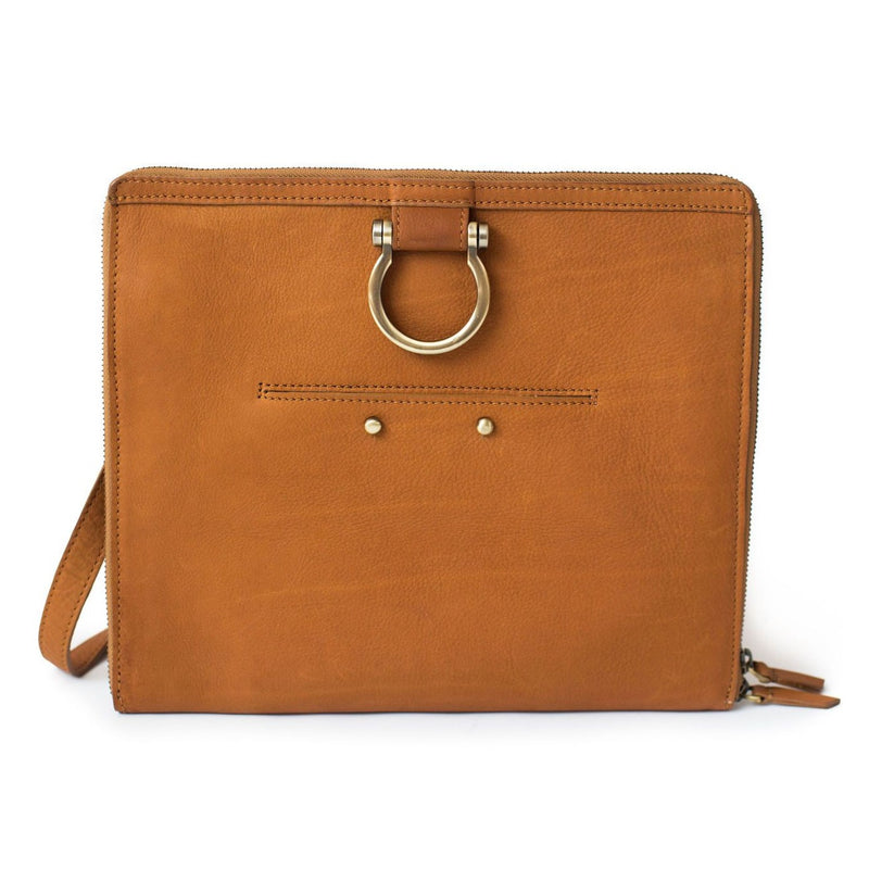 The M crossbody bag in whisky tan raw leather has a zip enclosure, front exterior pocket, and Omega hardware.