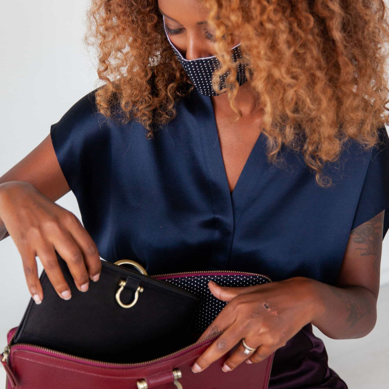 Fit your smaller Sapahn wallets inside of the M large crossbody bag in deep red oil leather.