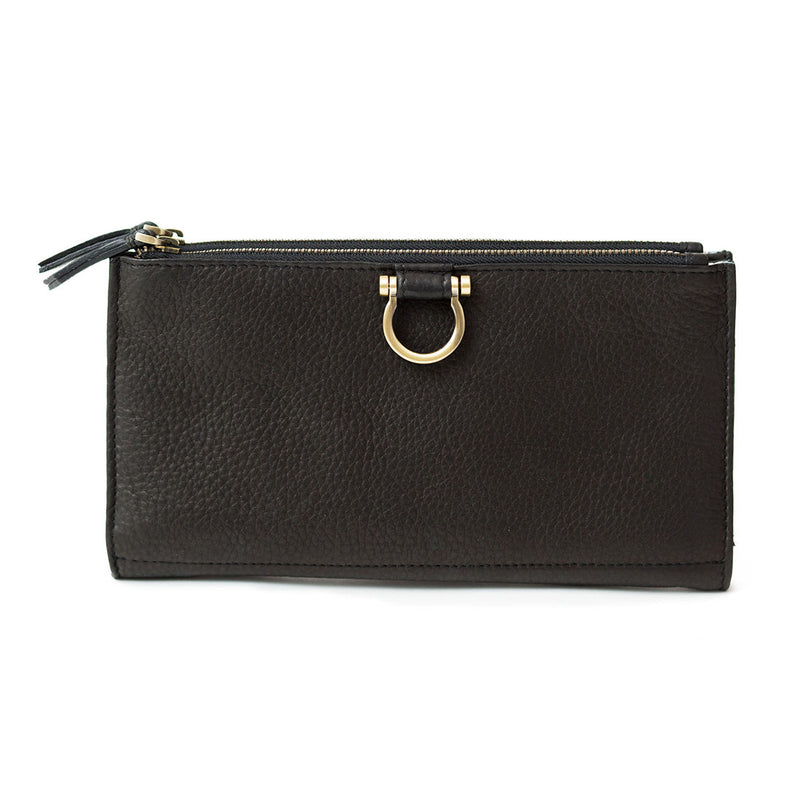 The Parker deluxe wristlet wallet in black raw leather is minimalist and features Omega hardware.