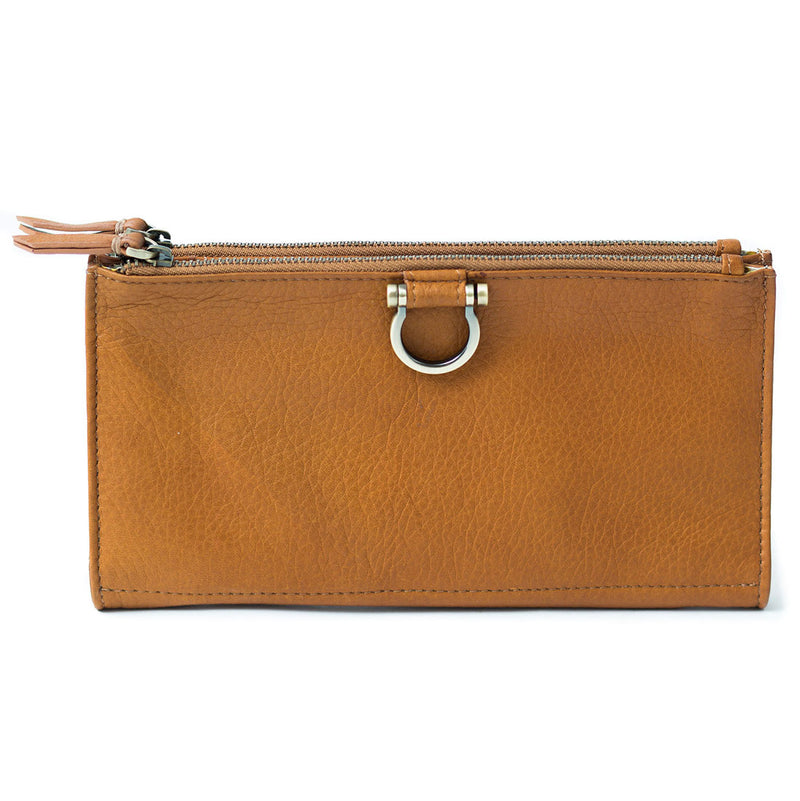 The Parker deluxe wristlet wallet in whisky tan raw leather is minimalist and features Omega hardware.