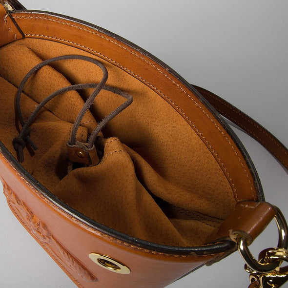 Ottavia Equestrian Leather Bucket Bag, hard case, embossed horses, top view - LUCA Boutique