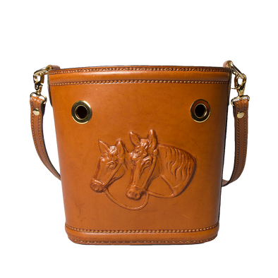 Ottavia Equestrian Leather Bucket Bag, hard case, embossed horses - LUCA Boutique (2552926208085)