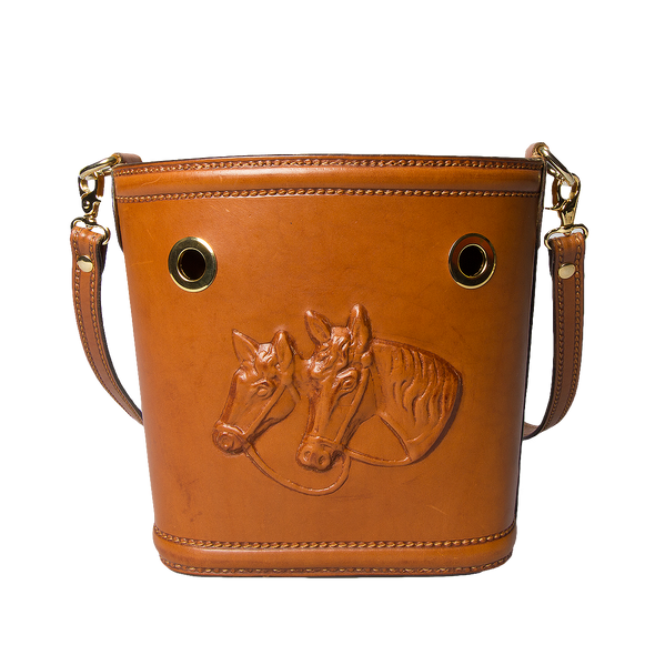Ottavia Equestrian Leather Bucket Bag, hard case, embossed horses - LUCA Boutique
