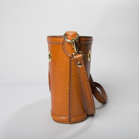 Ottavia Equestrian Leather Bucket Bag, hard case, embossed horses, side view - LUCA Boutique