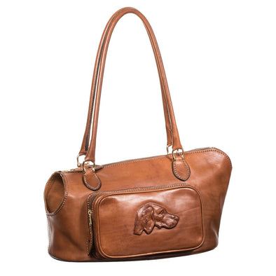 Equestrian Dog Leather Carrier, embossed with dog - LUCA Boutique