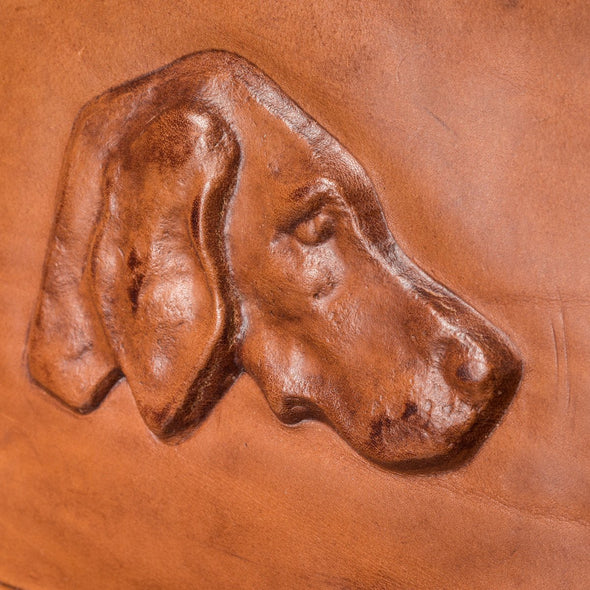 Equestrian Dog Leather Carrier, embossed with dog, detail view - LUCA Boutique