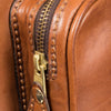 Equestrian Dog Leather Carrier, embossed with dog, side view - LUCA Boutique