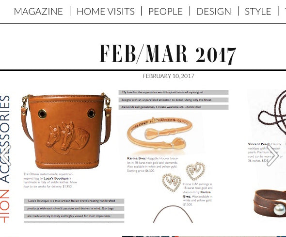 Ottavia Equestrian Leather Bucket Bag, hard case, embossed horses featured in EQLiving Magazine - LUCA Boutique