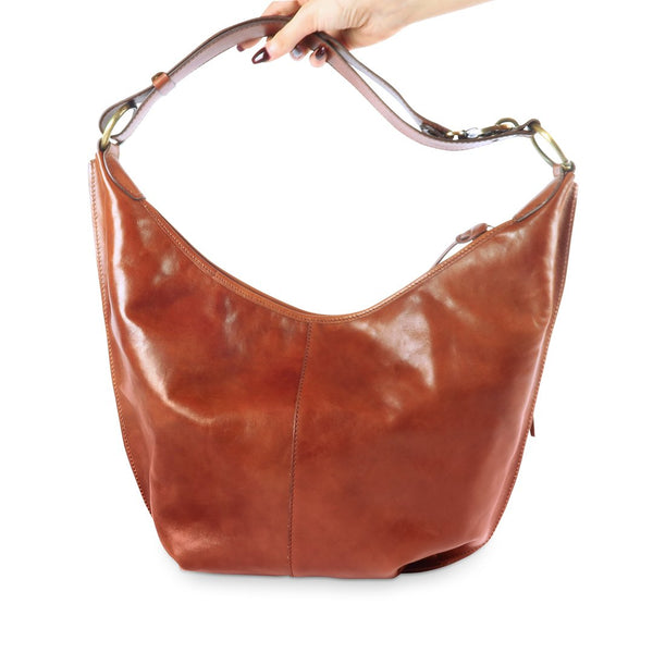 Greta bag - vegetable tanned leather hobo bag