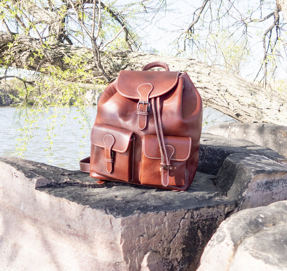 Juno Backpack - Vacchetta leather Made in Rome Italy (2483118112853)