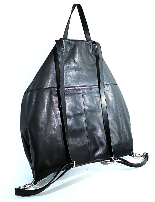 Architect Italian Leather Backpack in Black, rear view - Made in Italy (2534544244821)