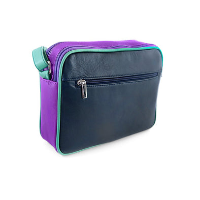Small Francesca Handbag Collection, Navy Purple Green, at LUCA Boutique
