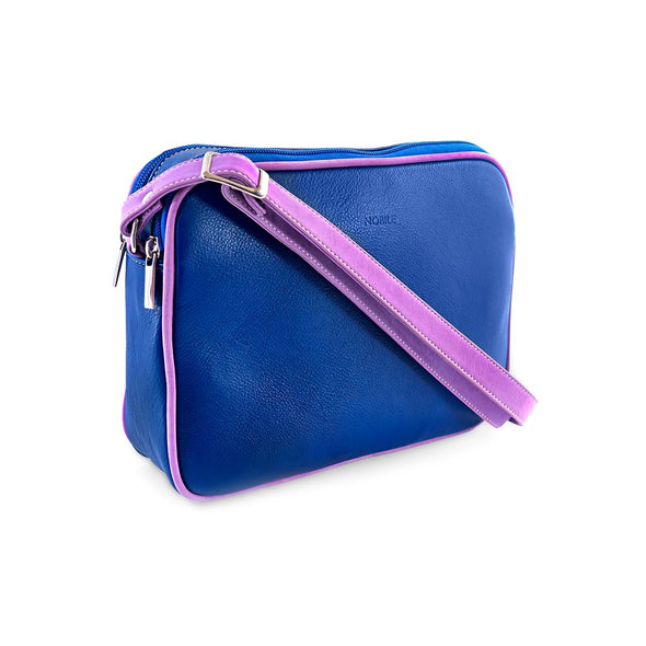 Small Francesca Handbag Collection, Blue Pink rear view, at LUCA Boutique