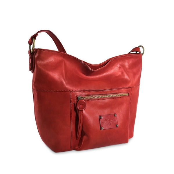 Maria Large Leather Crossbody Bag, front view - LUCA Boutique