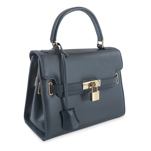 Susan Grace Small Italian Leather Bag in Navy - at LUCA Boutique