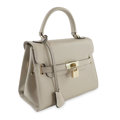 Susan Grace Small Italian Leather Bag in Taupe - at LUCA Boutique (2524650831957)