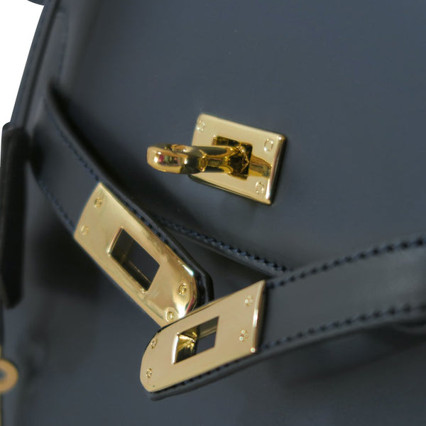 Susan Grace Small Italian Leather Bag, view of gold tone hardware - at LUCA Boutique