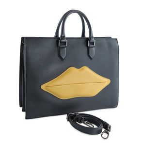 The OS 2 Lips Italian Leather Bag, black with yellow lips - LUCA Boutique