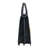 The OS 2 Lips Italian Leather Bag, black with yellow lips, side view - LUCA Boutique (2534488342613)
