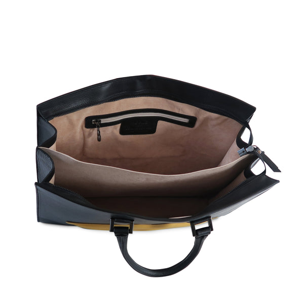 The OS 2 Lips Italian Leather Bag, black with yellow lips, top view - LUCA Boutique