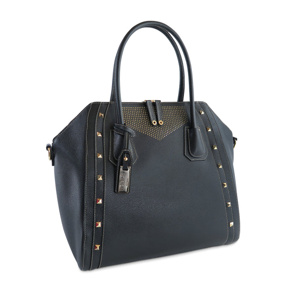 The Fatima Satchel Bag, black with studs - available at LUCA Boutique