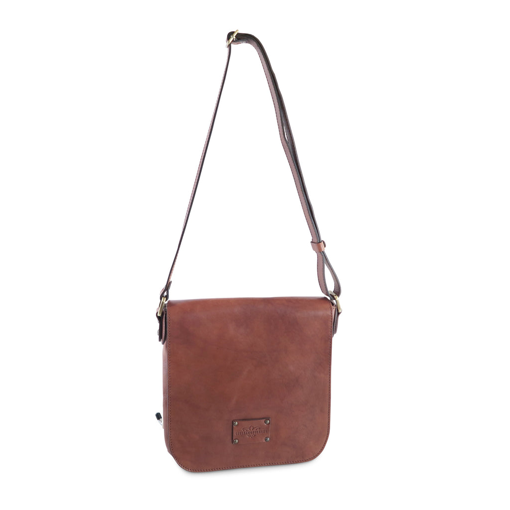 Small Italian Messenger Bag, Brown - available exclusively at LUCA Boutique