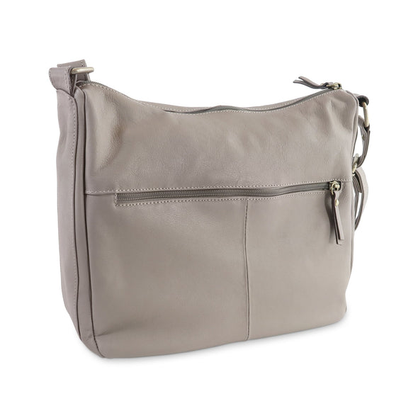 Melania Italian Leather Handbag Collection, Taupe, rear view - exclusively at LUCA Boutique (2524678455381)