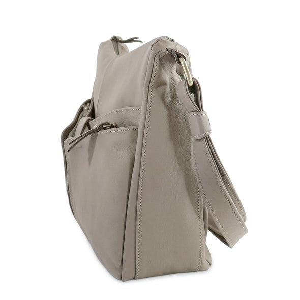 Melania Italian Leather Handbag Collection, Taupe, side view - exclusively at LUCA Boutique (2524678455381)