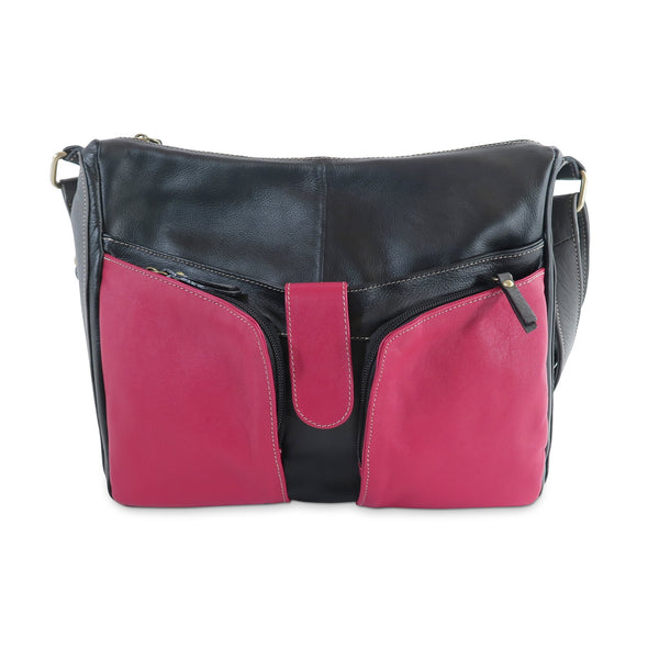 Melania Italian Leather Handbag Collection, Black & Red - exclusively at LUCA Boutique (2524678455381)