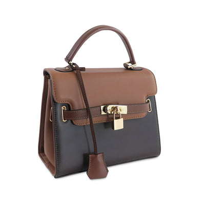 Susan Grace Small Italian Leather Bag in Black & Brown - at LUCA Boutique
