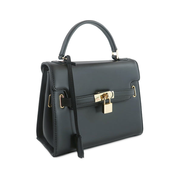 Susan Grace Small Italian Leather Bag in Black - at LUCA Boutique