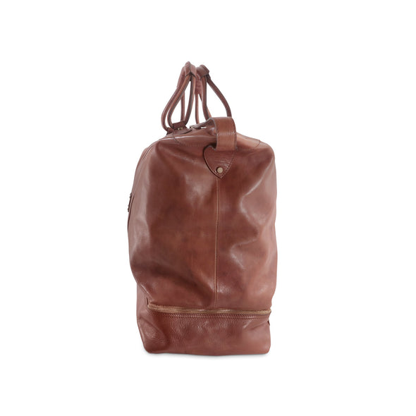 Edward Leather Travel Bag with under-compartment, special order, side view - available exclusively at LUCA Boutique
