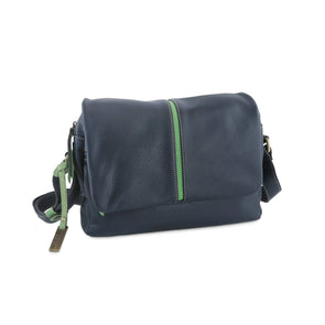 Easy Italian Leather Messenger in Navy & Green - available at LUCA Boutique