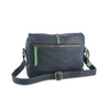 Easy Italian Leather Messenger in Navy & Green, rear view - available at LUCA Boutique