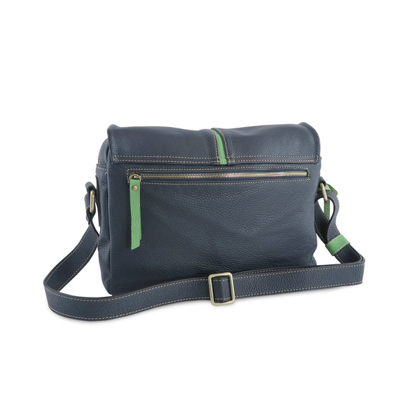 Easy Italian Leather Messenger in Navy & Green, rear view - available at LUCA Boutique (2483111854165)