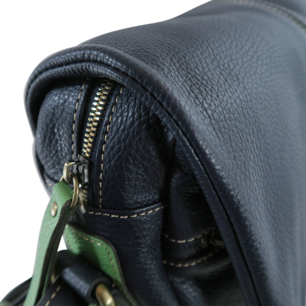 Easy Italian Leather Messenger in Navy & Green, side view - available at LUCA Boutique