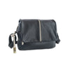 Easy Italian Leather Messenger in Black & Taupe - available at LUCA Boutique