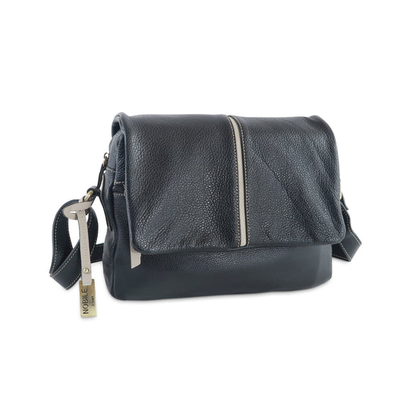 Easy Italian Leather Messenger in Black & Taupe - available at LUCA Boutique (2483111854165)
