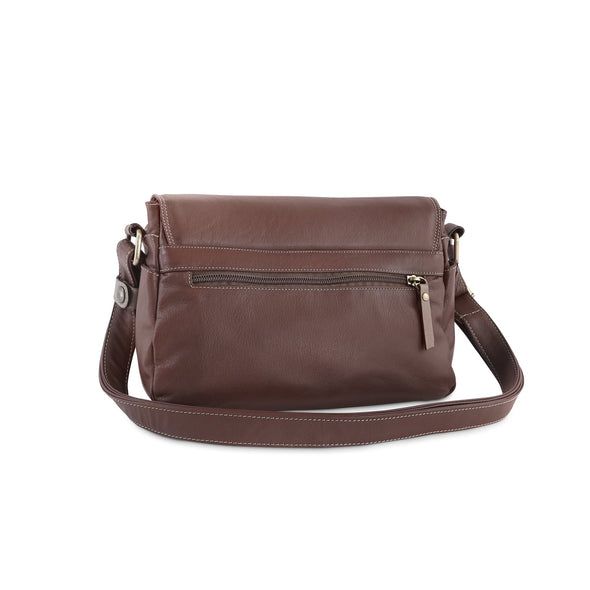 Amoret Italian Leather Bag Collection in Brown, rear view - exclusively at LUCA Boutice (2524592373845)