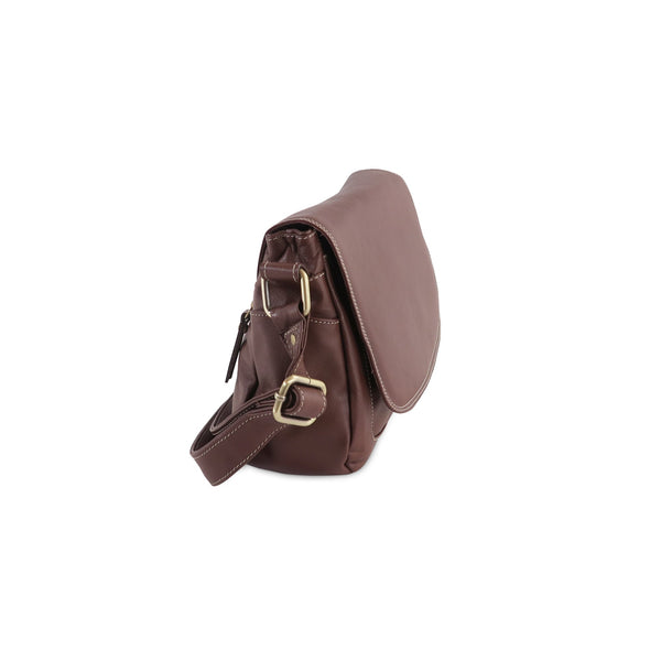 Amoret Italian Leather Bag Collection in Brown, side view - exclusively at LUCA Boutice (2524592373845)