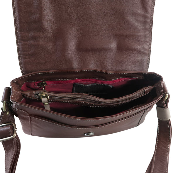 Amoret Italian Leather Bag Collection in Brown, inside view - exclusively at LUCA Boutice