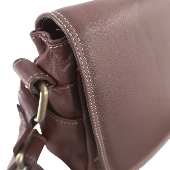Amoret Italian Leather Bag Collection in Brown, close up - exclusively at LUCA Boutice (2524592373845)