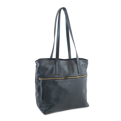 Zilla Italian Leather Tote in Black - exclusively at LUCA Boutique